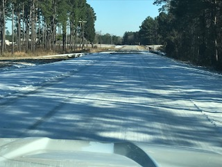 Snow and Ice Covered Road after storm